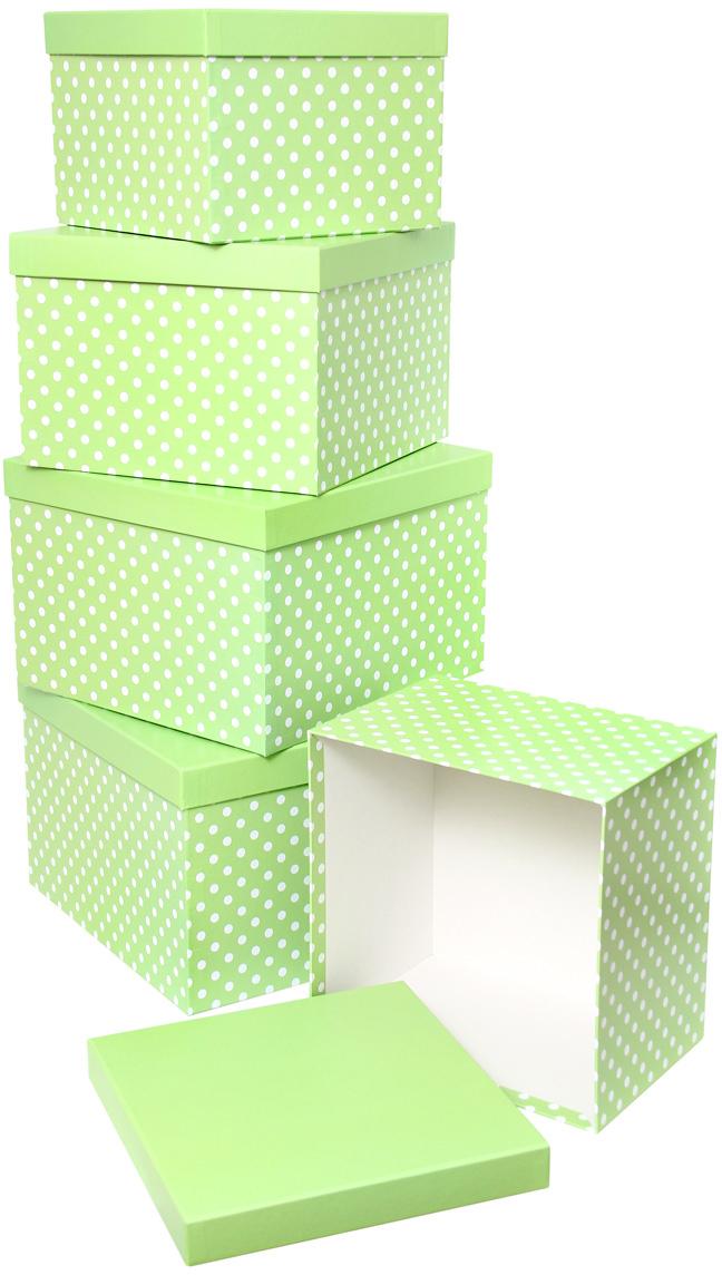 Набор подарочных коробок Veld-Co Белый горошек, кубы, большие, цвет: салатовый, 5 шт набор подарочных коробок veld co нежные розы кубы 5 шт