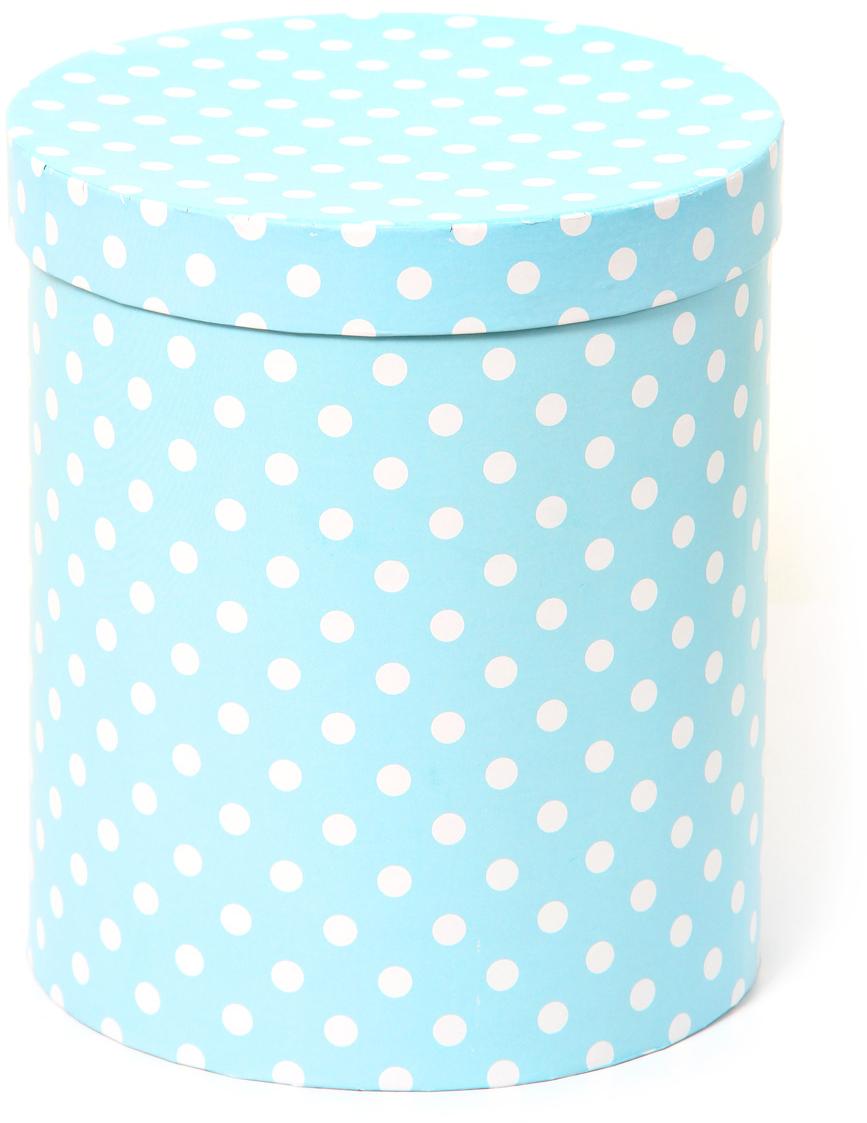Коробка подарочная Veld-Co Белый горошек, для цветов, цвет: голубой, 17 х 17 х 20 см коробка подарочная veld co свадебный бабочки цвет слоновая кость 18 х 18 х 26 см