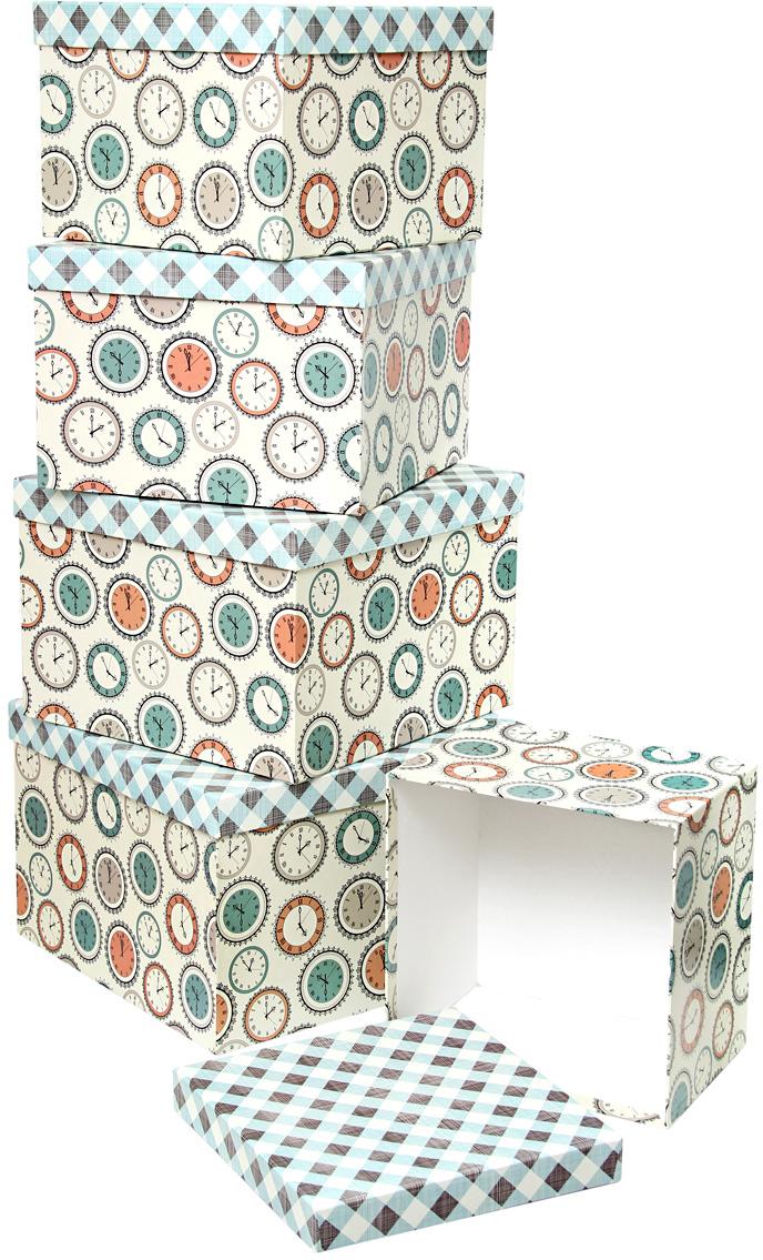 Набор подарочных коробок Veld-Co Часы и ромбы, кубы, большие, 5 шт набор подарочных коробок veld co нежные розы кубы 5 шт