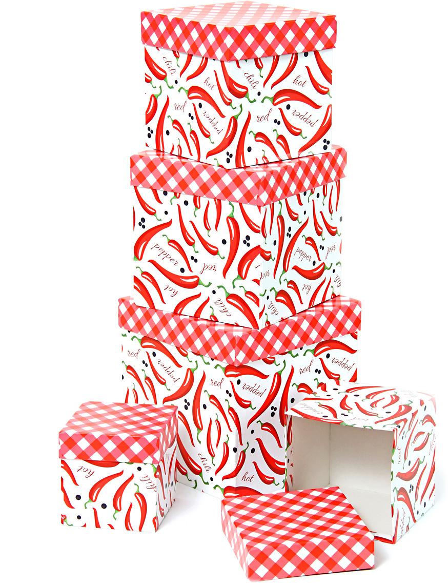 Набор подарочных коробок Veld-Co Перец чили и красные ромбы, кубы, 5 шт набор подарочных коробок veld co горошек с бантиком кубы 3 шт