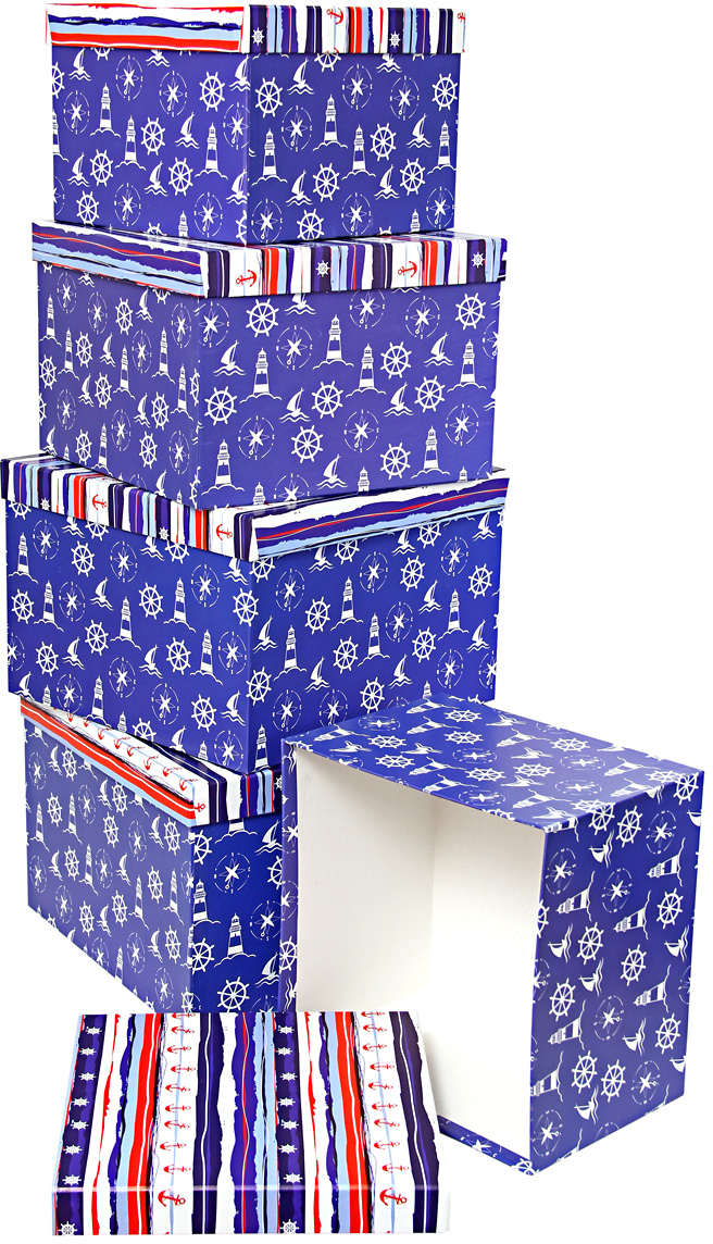 Набор подарочных коробок Veld-Co Морская тематика, кубы, 5 шт56271Подарочные коробки Veld-Co - это наилучшее решение, если выхотите порадовать ваших близких и создать праздничное настроение, ведь подарок, преподнесенный в оригинальной упаковке, всегда будет самым эффектным и запоминающимся. Окружите близких людей вниманием и заботой, вручив презент в нарядном, праздничном оформлении.