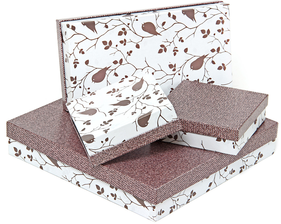 Набор подарочных коробок Veld-Co Птички и ткань, 4 шт набор подарочных коробок veld co небесные музыканты круглые 4 шт