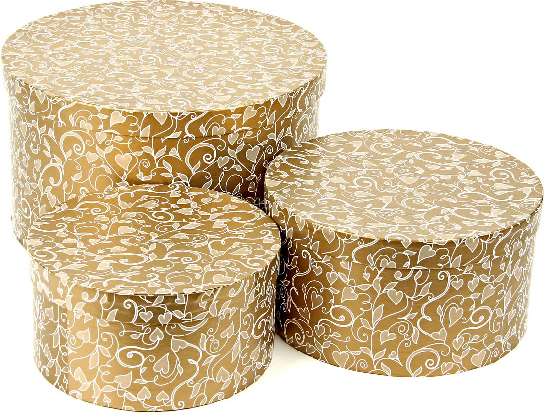 Набор подарочных коробок Veld-Co Ванильные сердца, круглые, низкие, 3 шт набор подарочных коробок veld co шоколад с магнитами цвет светло коричневый 3 шт