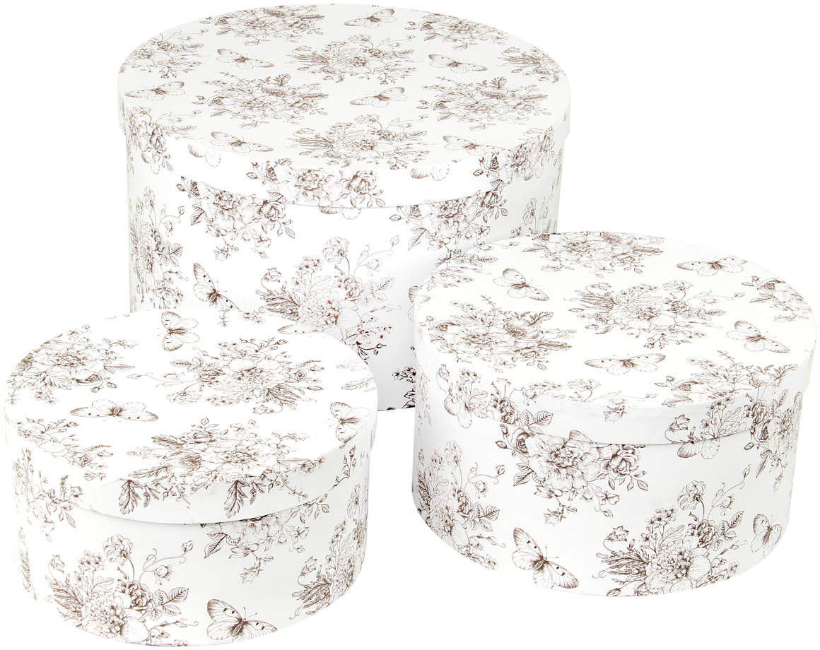 Набор подарочных коробок Veld-Co Мадам Баттерфляй, круглые, 3 шт набор подарочных коробок veld co небесные музыканты круглые 4 шт