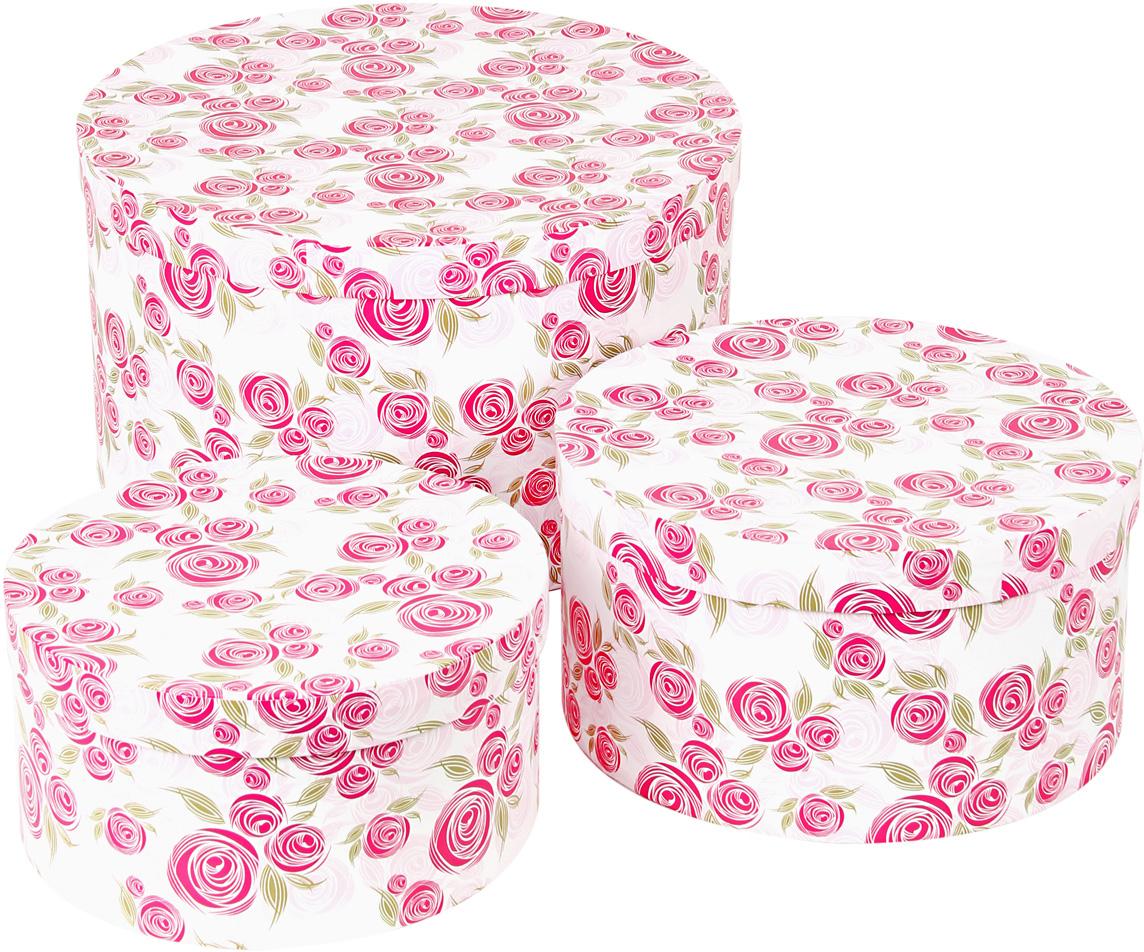 Набор подарочных коробок Veld-Co Розовая графика, круглые, 3 шт набор подарочных коробок veld co шоколад с магнитами цвет светло коричневый 3 шт
