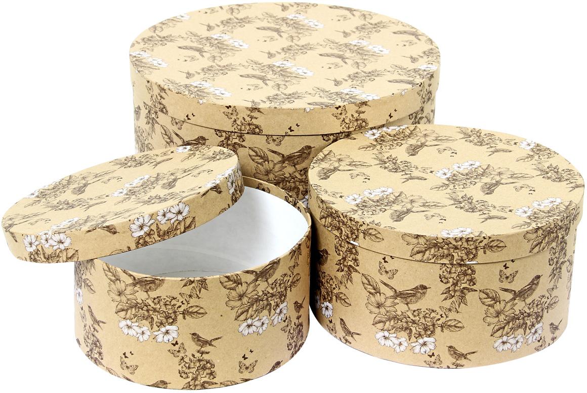 Набор подарочных коробок Veld-Co Гимн весне, круглые, 3 шт набор подарочных коробок veld co шоколад с магнитами цвет светло коричневый 3 шт