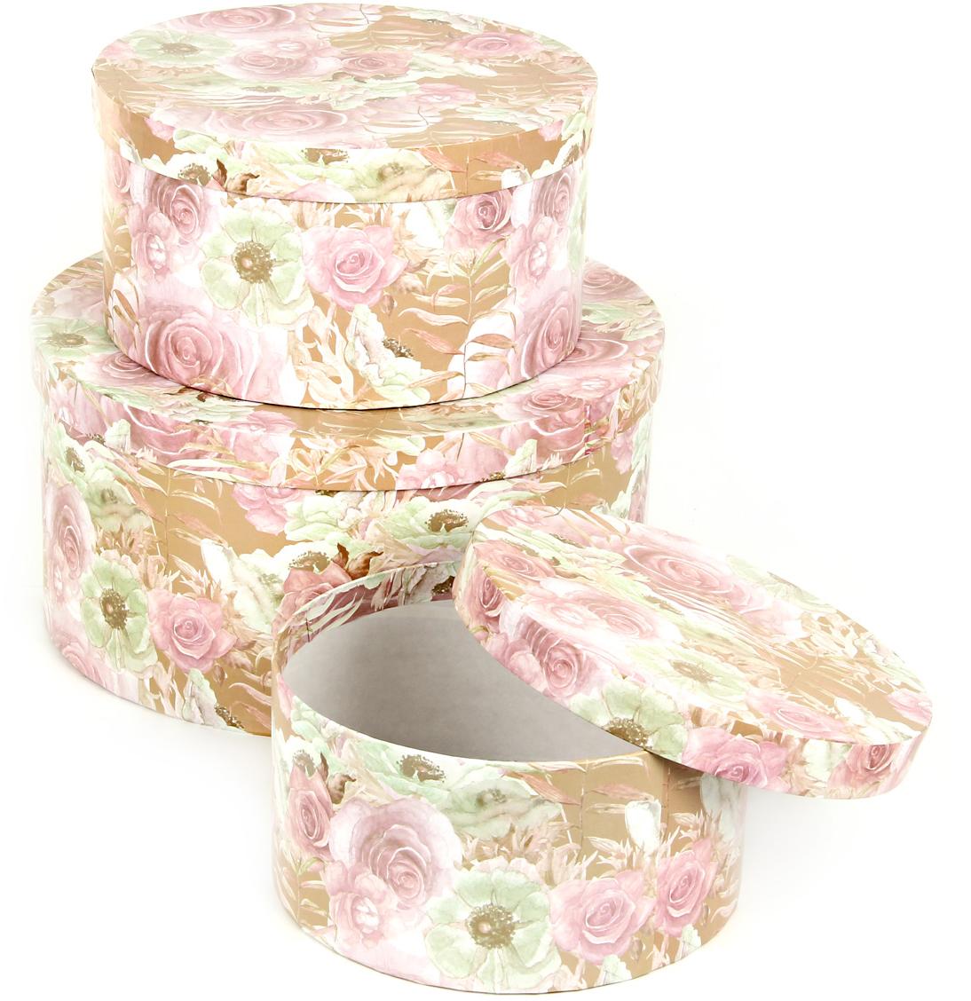 Набор подарочных коробок Veld-Co Эльфийский сад, круглые, 3 шт набор подарочных коробок veld co шоколад с магнитами цвет светло коричневый 3 шт