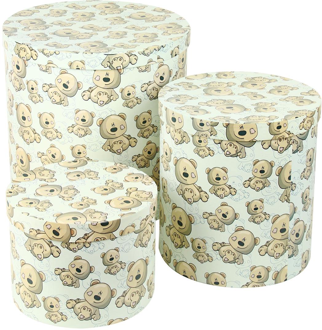 Набор подарочных коробок Veld-Co Плюшевый улыбака, круглые, 3 шт набор подарочных коробок veld co шоколад с магнитами цвет светло коричневый 3 шт