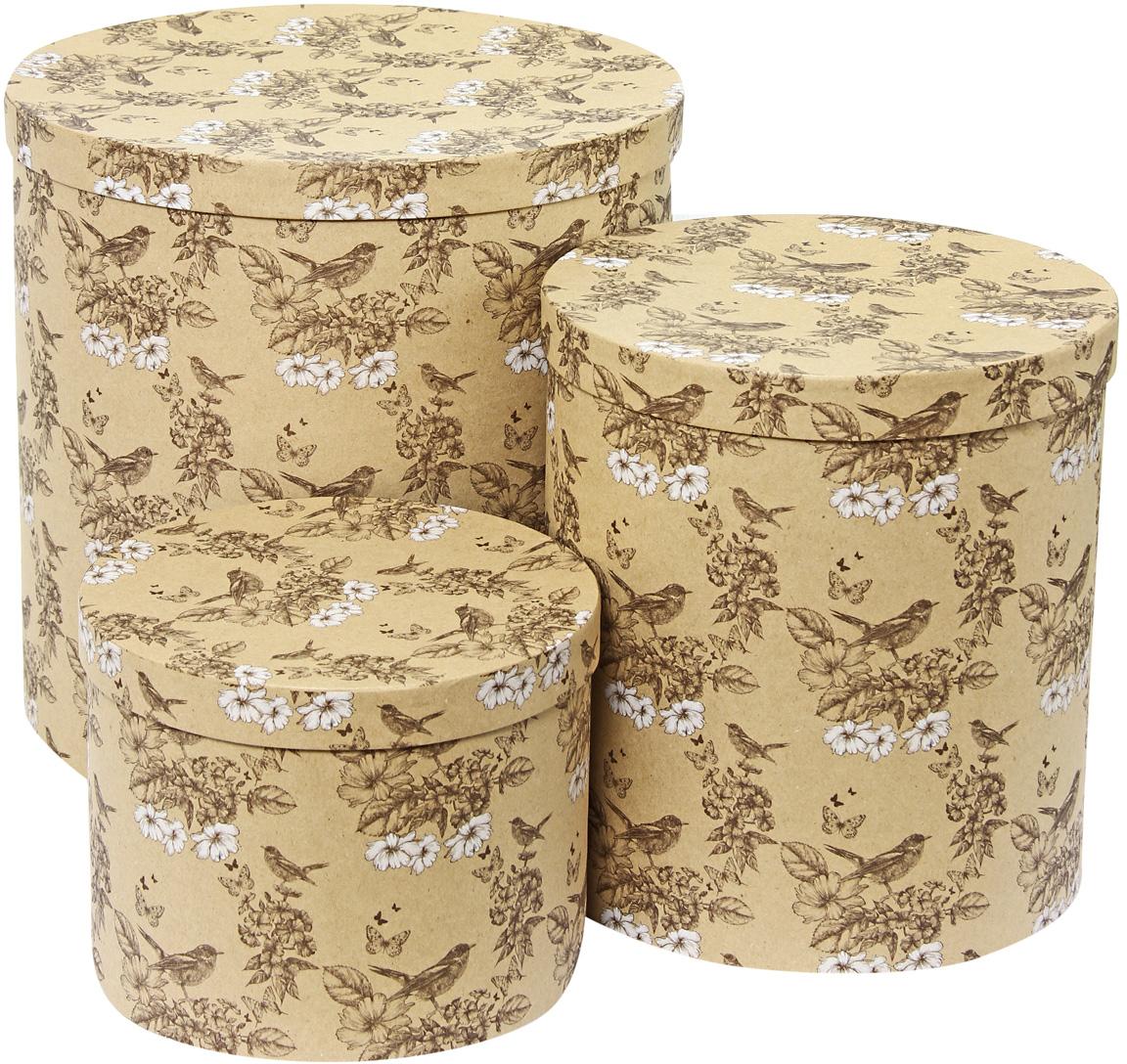 Набор подарочных коробок Veld-Co Гимн весне, круглые, высокие, 3 шт набор подарочных коробок veld co горошек с бантиком кубы 3 шт