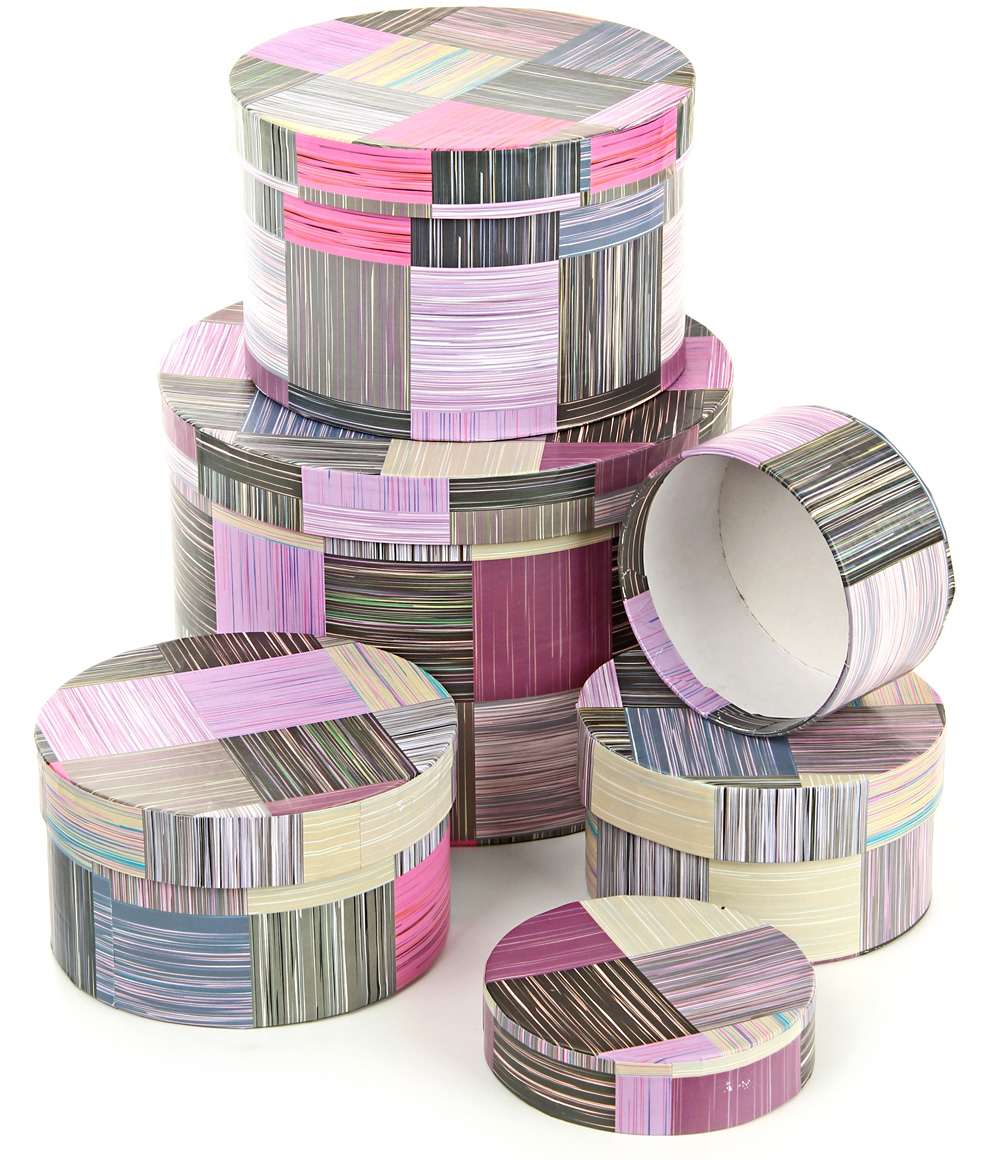 Набор подарочных коробок Veld-Co Сиреневое сияние, круглые, 5 шт набор подарочных коробок veld co небесные музыканты круглые 4 шт