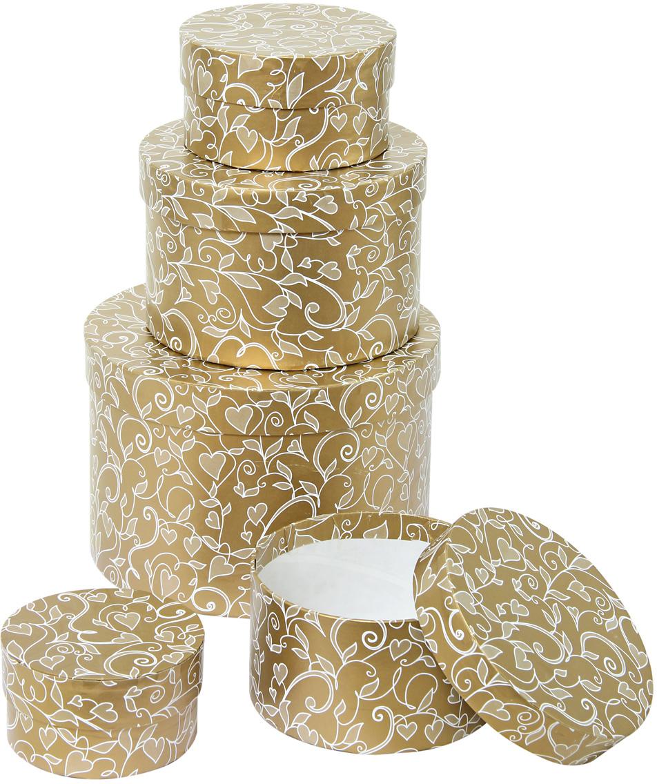 Набор подарочных коробок Veld-Co Ванильные сердца, круглые, 5 шт. 57592 набор подарочных коробок veld co миром правит доброта 15 шт