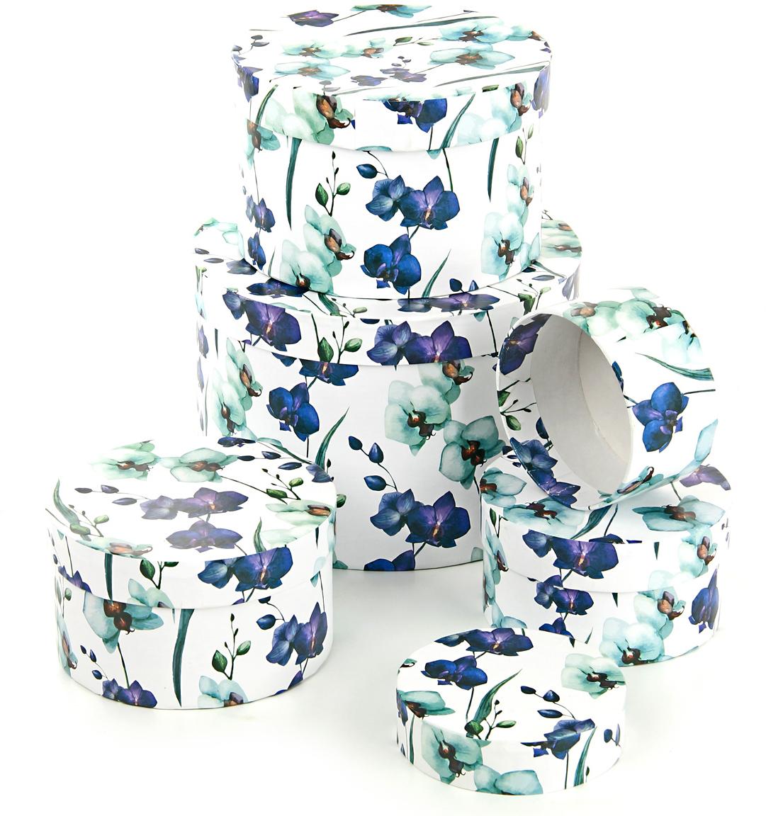 Набор подарочных коробок Veld-Co Ирисы, круглые, 5 шт57594Подарочные коробки Veld-Co - это наилучшее решение, если выхотите порадовать ваших близких и создать праздничное настроение, ведь подарок, преподнесенный в оригинальной упаковке, всегда будет самым эффектным и запоминающимся. Окружите близких людей вниманием и заботой, вручив презент в нарядном, праздничном оформлении.