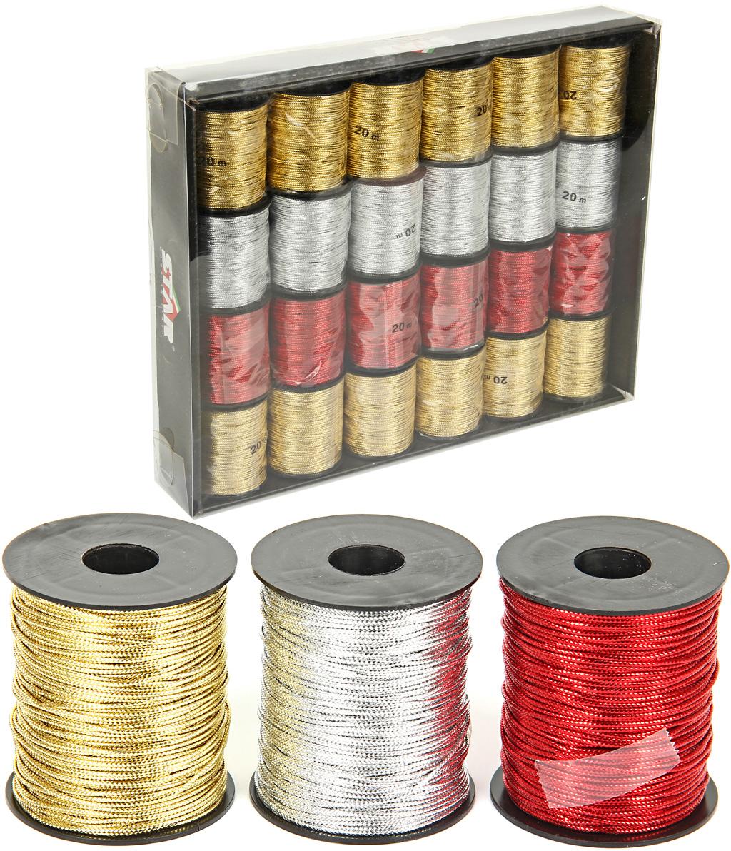 Шнур декоративный  Veld-Co , цвет: мультиколор, 1 мм х 20 м, 24 шт -  Подарочная упаковка