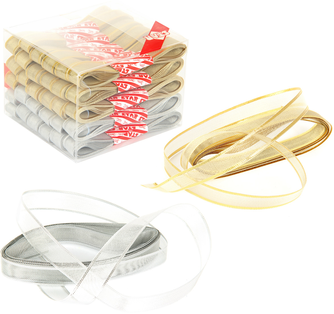 Набор декоративных лент Veld-Co Парча. Золото и серебро, 1,6 см х 3 м, 30 шт veld co игровой набор с куклой торговый центр