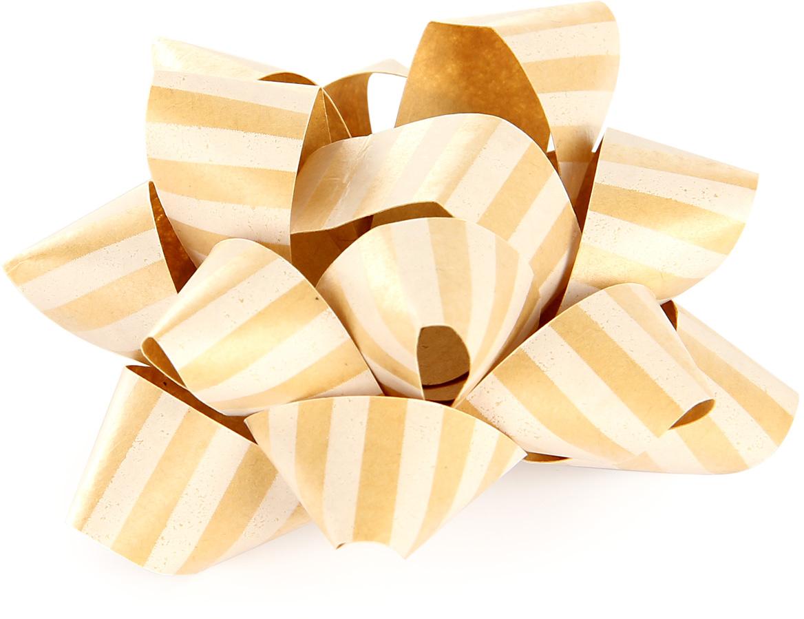 Бант упаковочный Veld-Co Звезда, цвет: бежевый, диаметр 8 см58165Бант, бамага крафт с поперечными белыми полосками, диаметр 8 см.