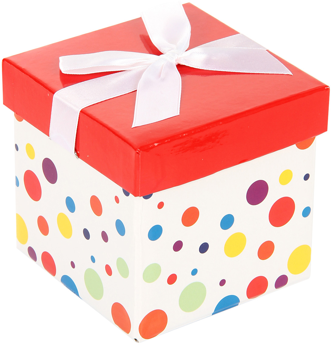 Коробка подарочная Veld-Co Giftbox. Трансформер. Разноцветные горошки, цвет: белый, 10,3 х 10,3 х 9,8 см коробка подарочная veld co giftbox трансформер солнечное настроение цвет оранжевый 10 3 х 10 3 х 9 8 см