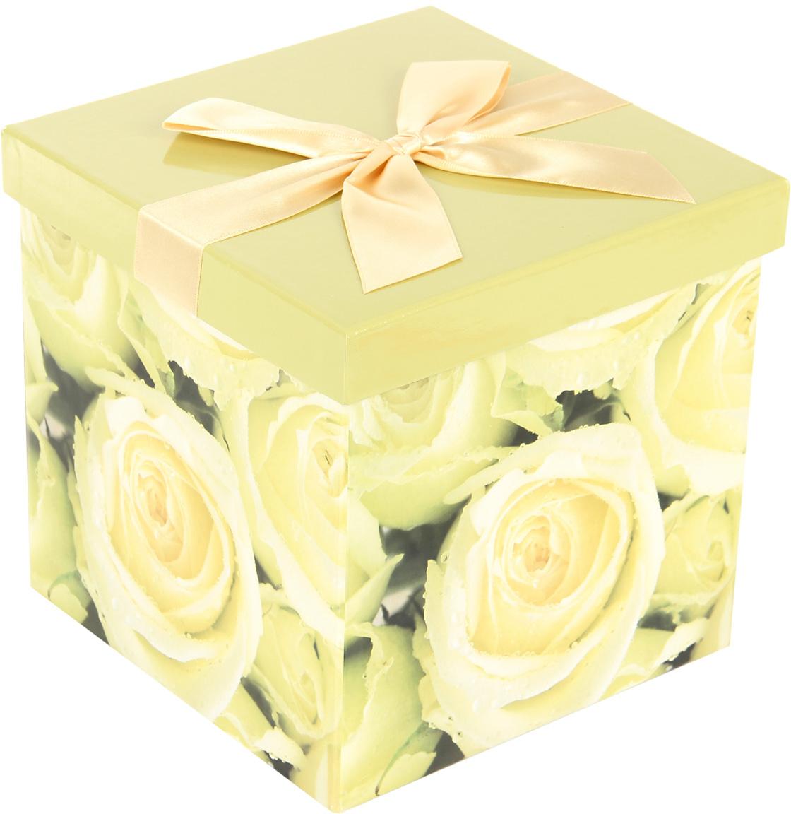 Коробка подарочная Veld-Co Giftbox. Трансформер. Белые розы, цвет: разноцветный, 17,5 х 17,5 х 17 см коробка подарочная veld co свадебный бабочки цвет слоновая кость 18 х 18 х 26 см