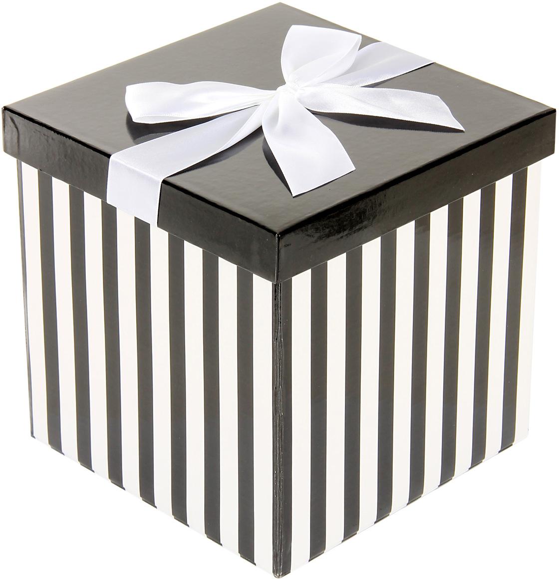 Коробка подарочная Veld-Co Giftbox. Трансформер. Черно-белая полоска, цвет: черный, 17,5 х 17,5 х 17 см коробка подарочная veld co giftbox трансформер фиолетовые завитки цвет сиреневый 25 5 х 25 5 х 25 см