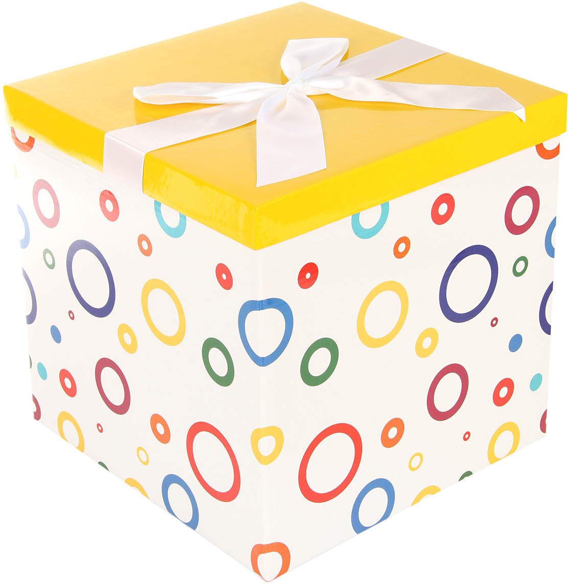 Коробка подарочная Veld-Co Giftbox. Трансформер. Цветные колечки, цвет: белый, 25,5 х 25,5 х 25 см коробка подарочная veld co giftbox трансформер цветные колечки цвет белый 25 5 х 25 5 х 25 см