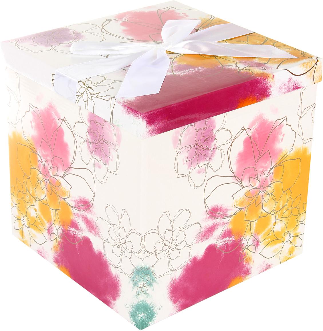 Коробка подарочная Veld-Co Giftbox. Трансформер. Акварель, цвет: белый, 25,5 х 25,5 х 25 см коробка подарочная veld co giftbox трансформер цветные колечки цвет белый 25 5 х 25 5 х 25 см