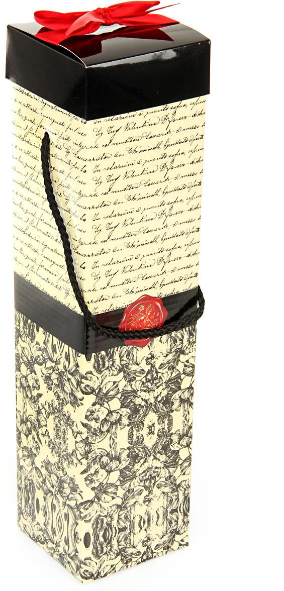 Коробка подарочная Veld-Co Giftbox. Трансформер. Узоры и надписи, под бутылку, цвет: слоновая кость, 34,4 х 8,2 х 8,2 см коробка подарочная veld co свадебный бабочки цвет слоновая кость 18 х 18 х 26 см