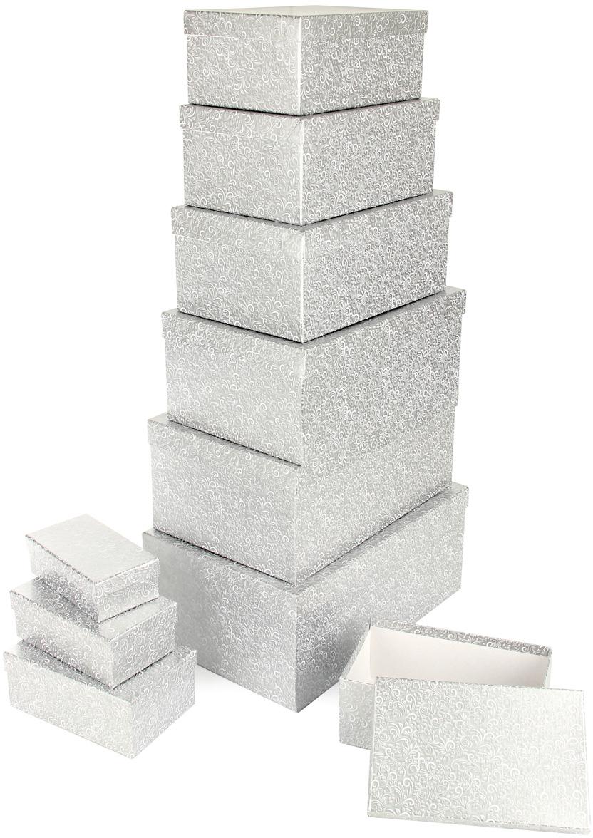 Набор подарочных коробок Veld-Co Серебряный узор, прямоугольные, 10 шт набор подарочных коробок veld co морская тематика прямоугольные 5 шт