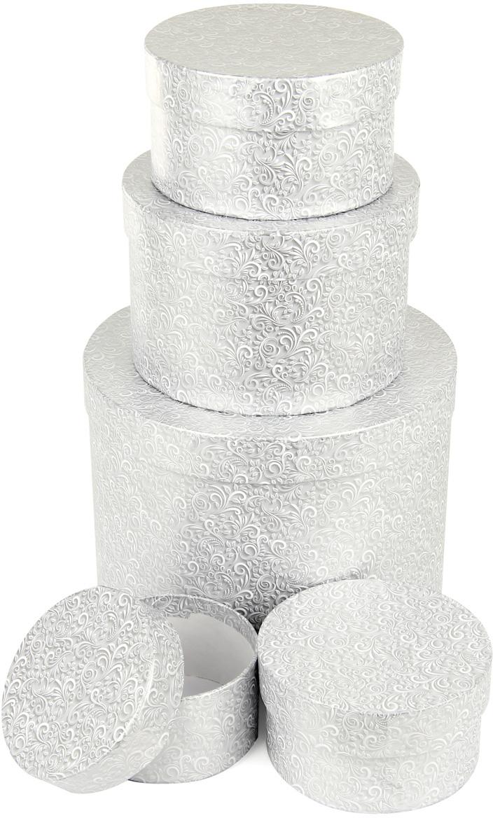 Набор подарочных коробок Veld-Co  Серебряный узор , круглые, 5 шт. 59919 -  Подарочная упаковка