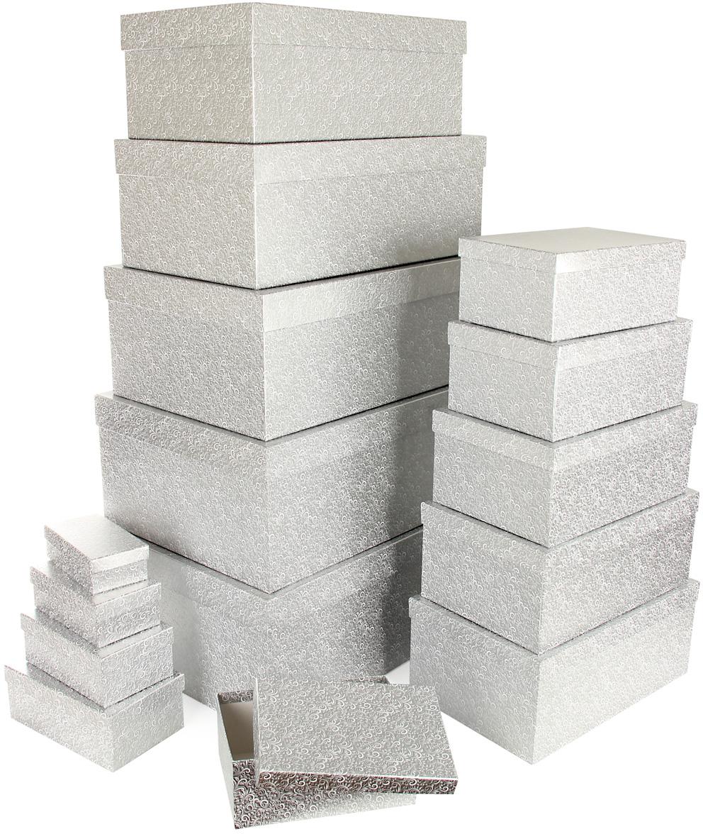 Набор подарочных коробок Veld-Co Серебряный узор, 15 шт набор подарочных коробок veld co цветочная абстракция кубы 3 шт 53452