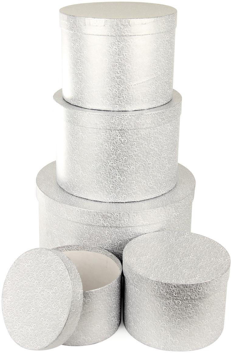 Набор подарочных коробок Veld-Co Серебряный узор, круглые, 5 шт набор подарочных коробок veld co цветочная абстракция кубы 3 шт 53452