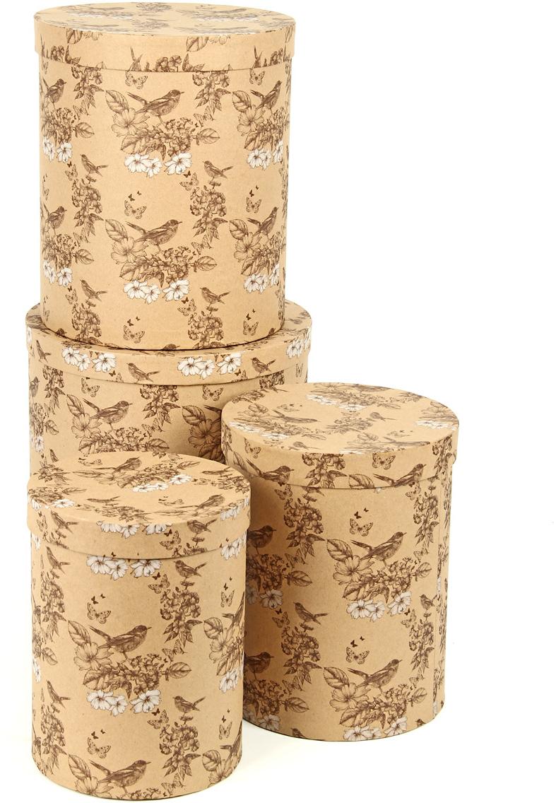Набор подарочных коробок Veld-Co Крафт. Гимн весне, 4 шт набор упаковочных бантиков veld co 1 4 х 25 см 10 шт