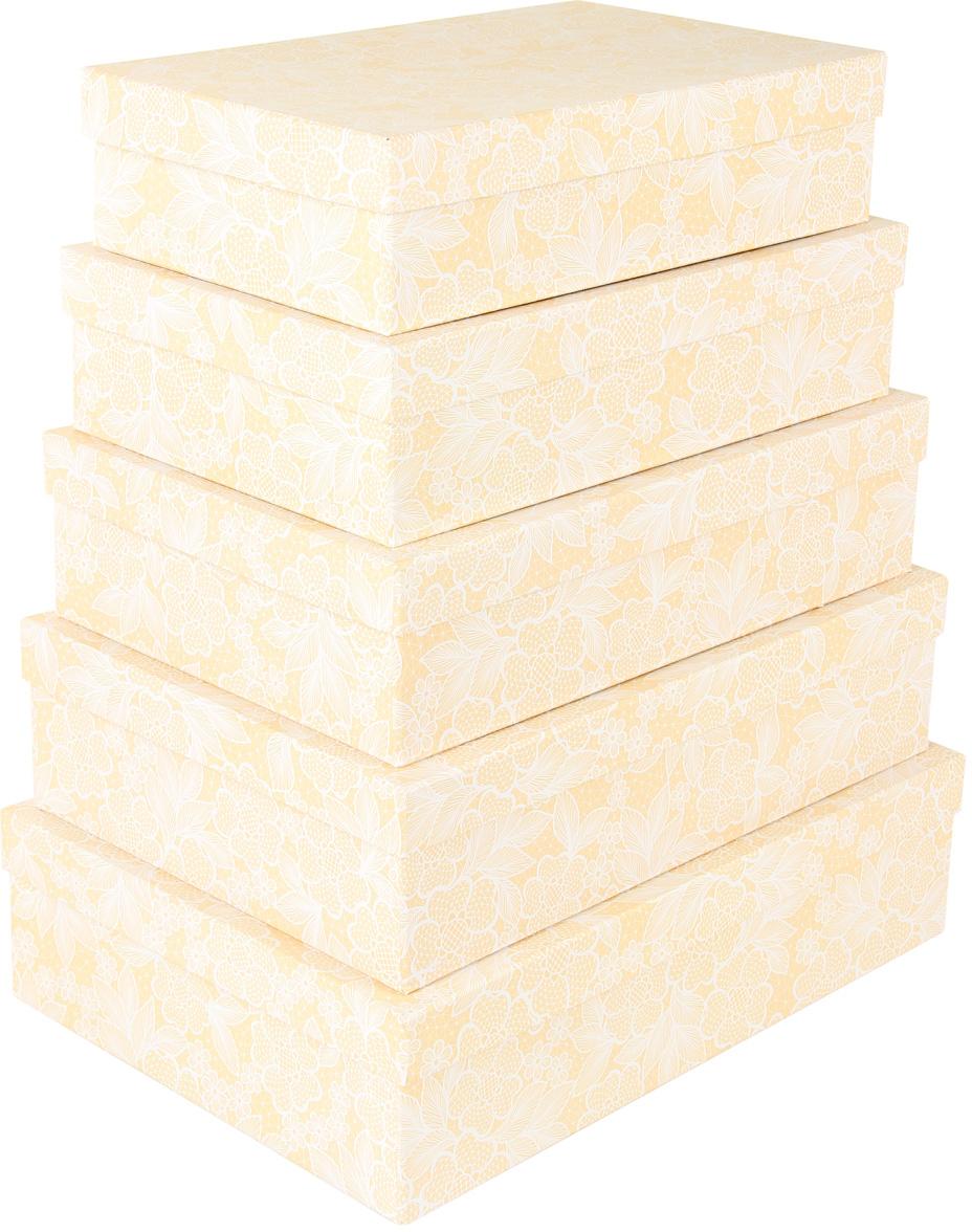 Набор подарочных коробок Veld-Co Свадебный гипюр, прямоугольные, большие, 5 шт набор подарочных коробок veld co морская тематика прямоугольные 5 шт