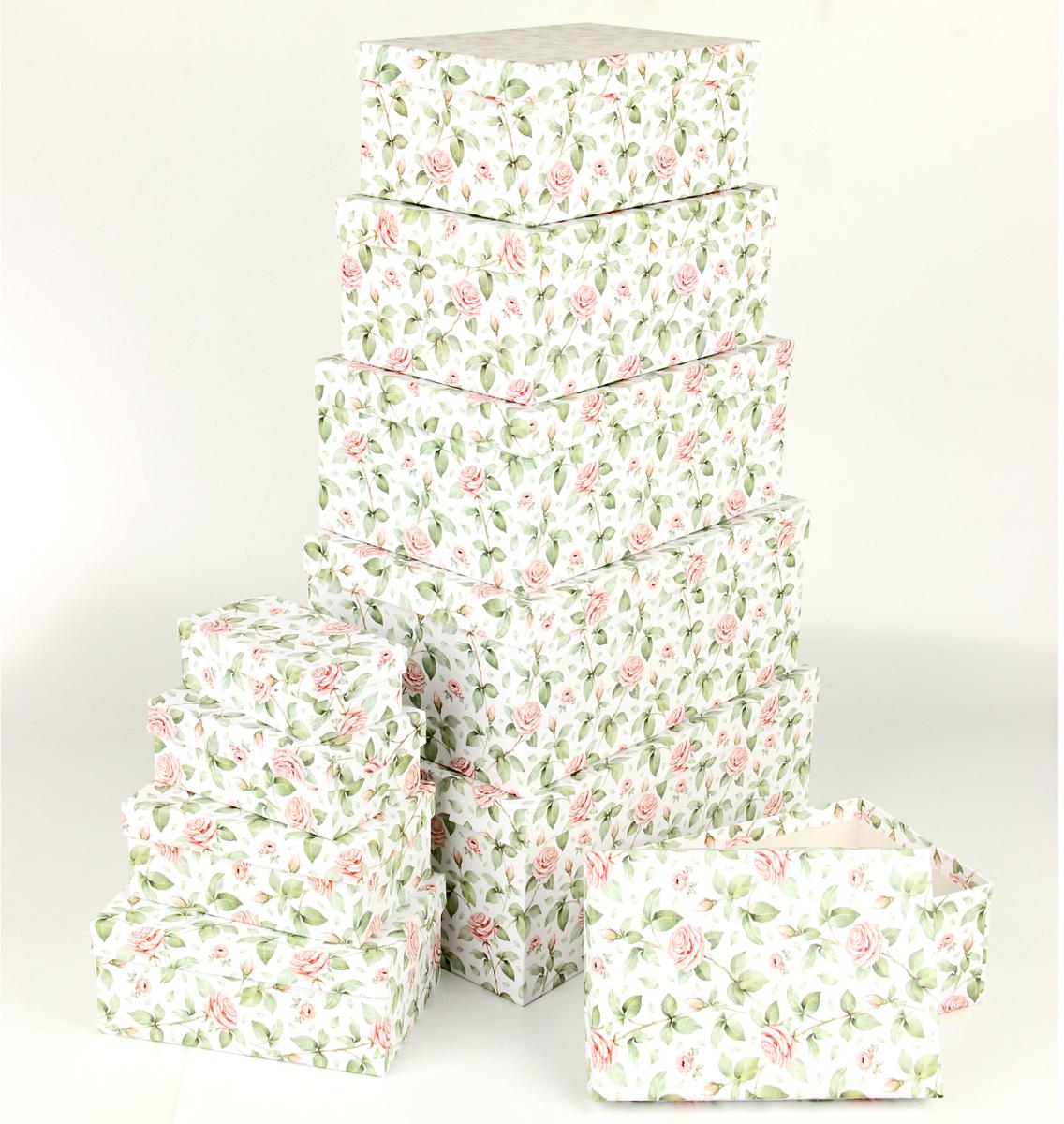 """Набор подарочных коробок Veld-Co """"Чайные розы"""", прямоугольные, 10 шт"""