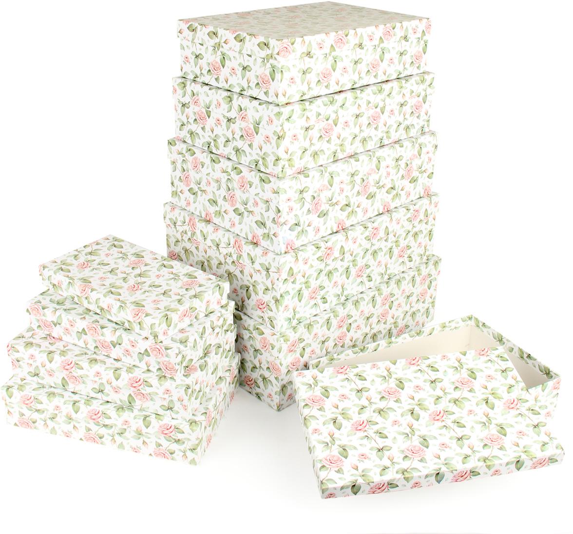 Набор подарочных коробок Veld-Co Чайные розы, 10 шт набор подарочных коробок veld co чайные розы круглые цвет белый 4 шт 67668