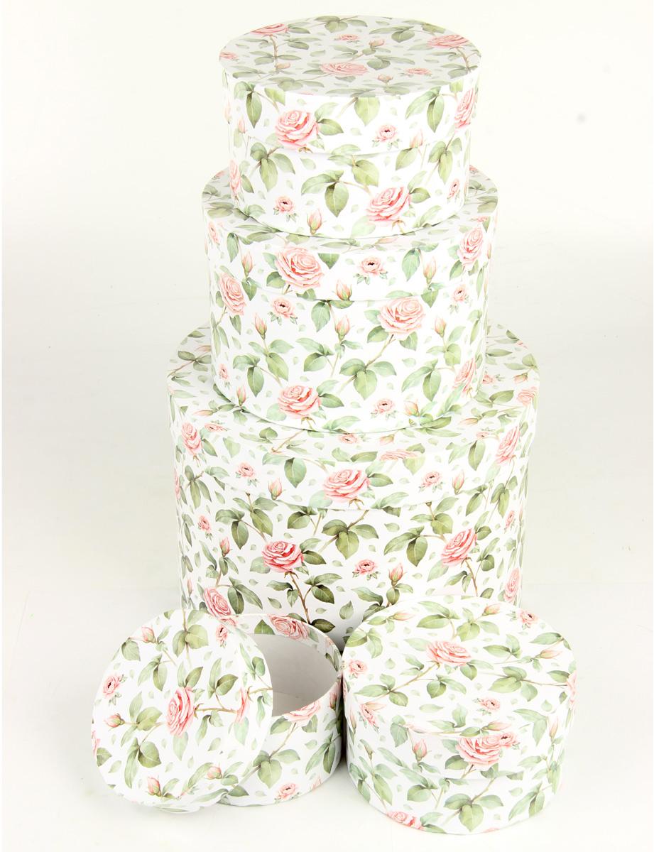 """Набор подарочных коробок Veld-Co """"Чайные розы"""", круглые, 5 шт. 67666"""