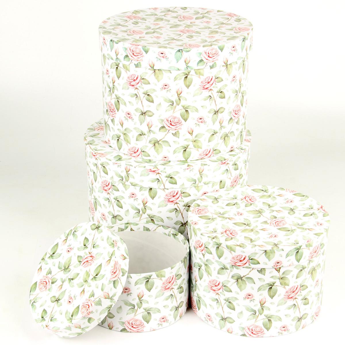 """Набор подарочных коробок Veld-Co """"Чайные розы"""", круглые, цвет: белый, 4 шт. 67668"""