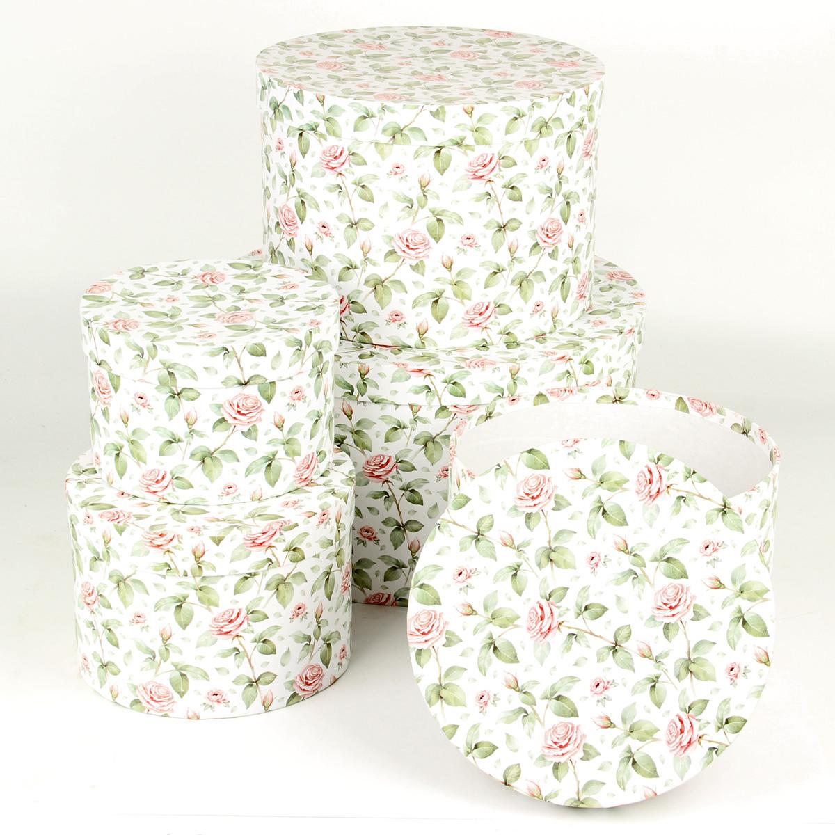 Набор подарочных коробок Veld-Co Чайные розы, круглые, 5 шт набор подарочных коробок veld co гимн весне круглые высокие 3 шт
