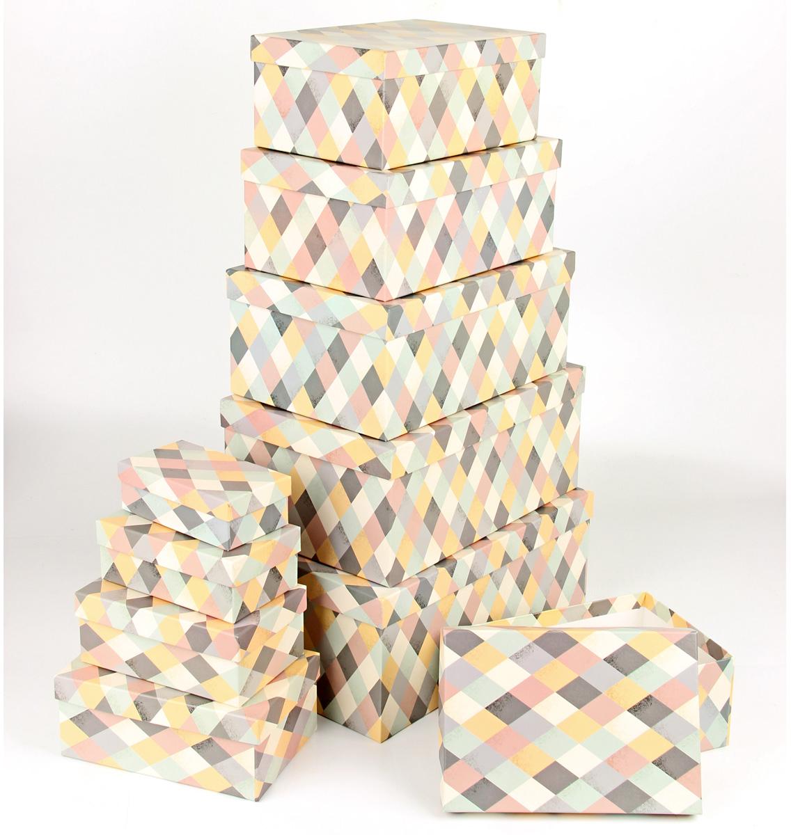 Набор подарочных коробок Veld-Co  Пастельная мозаика , прямоугольные, 10 шт -  Подарочная упаковка