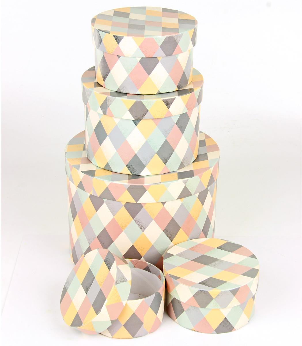 Набор подарочных коробок Veld-Co Пастельная мозаика, круглые, 5 шт. 67690 набор подарочных коробок veld co небесные музыканты круглые 4 шт