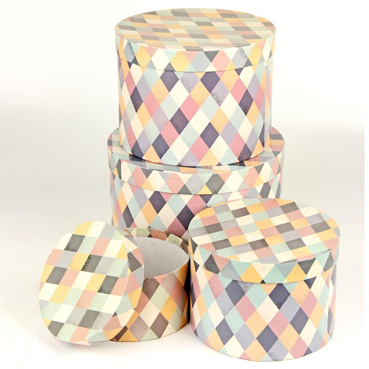 Набор подарочных коробок Veld-Co Пастельная мозаика, круглые, 4 шт. 67692 набор подарочных коробок veld co миром правит доброта 15 шт