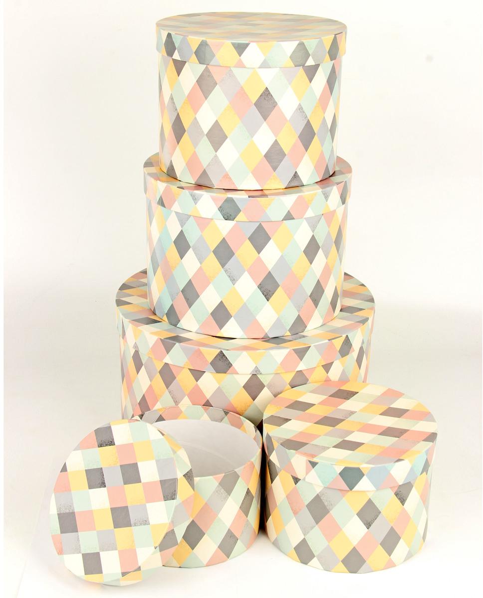 Набор подарочных коробок Veld-Co Пастельная мозаика, круглые, 5 шт набор подарочных коробок veld co цветение дикой сливы круглые 5 шт 67674