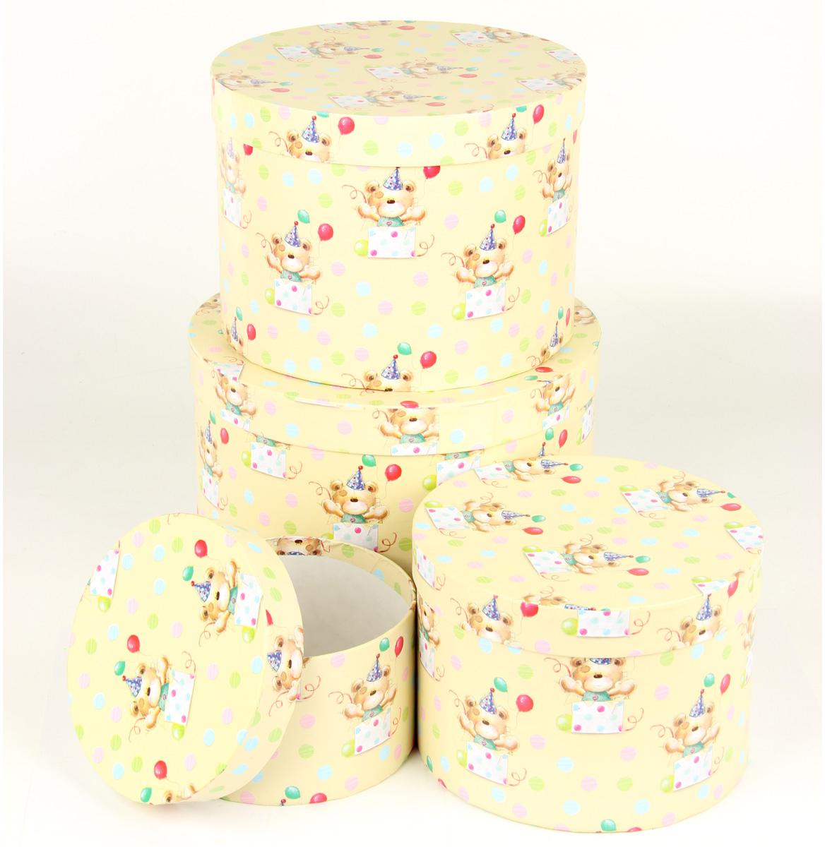 Набор подарочных коробок Veld-Co С днем варенья, круглые, 4 шт. 67700 набор подарочных коробок veld co шоколад с магнитами цвет светло коричневый 3 шт