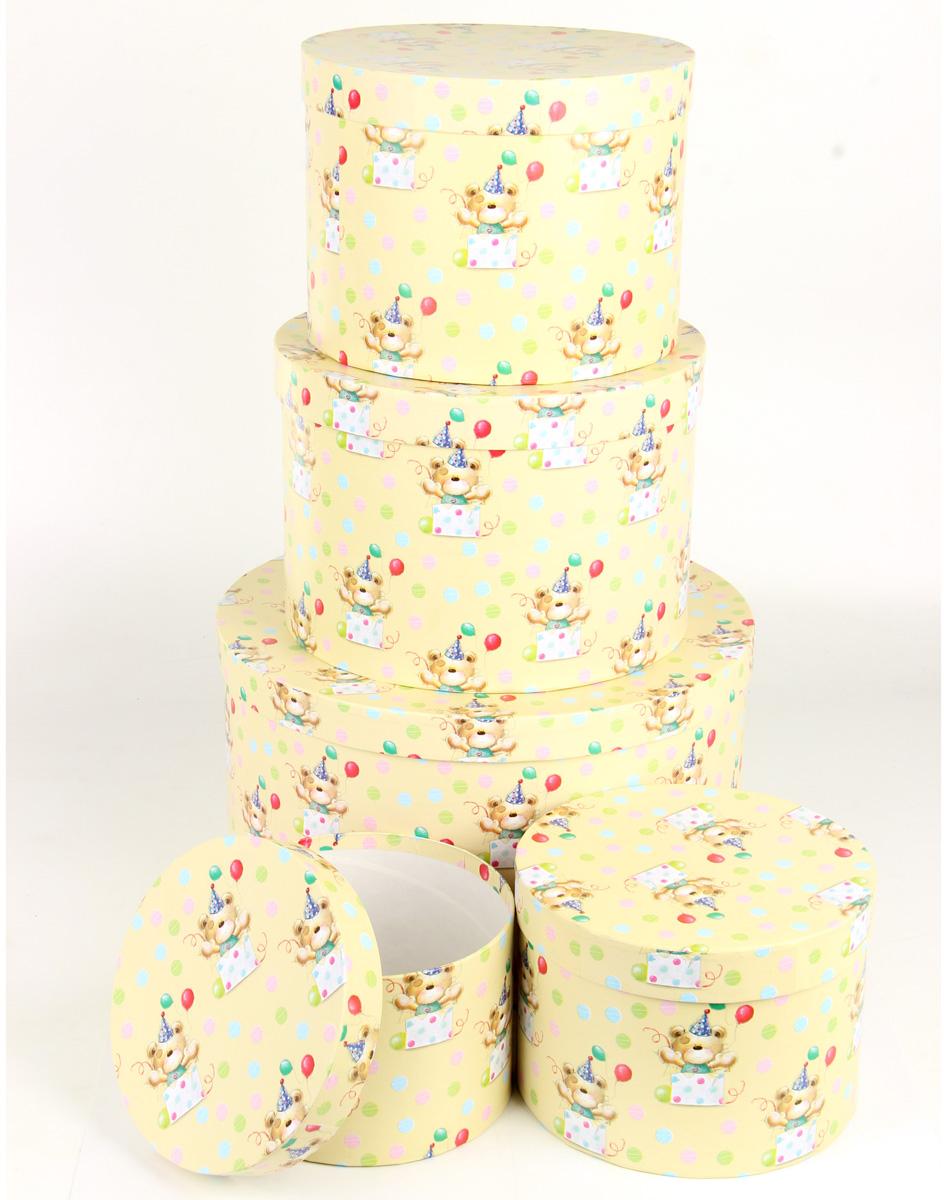 Набор подарочных коробок Veld-Co С днем варенья, круглые, 5 шт набор подарочных коробок veld co шоколад с магнитами цвет светло коричневый 3 шт