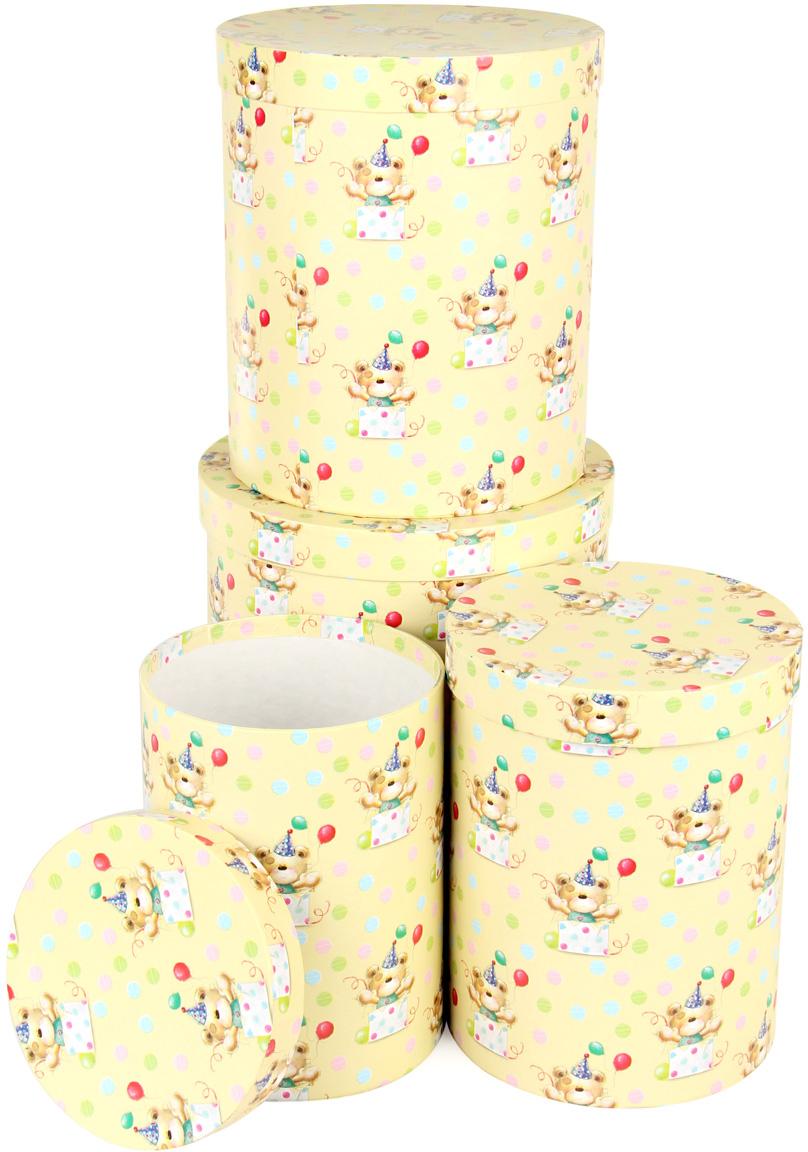 Набор подарочных коробок Veld-Co С днем варенья, круглые, 4 шт набор подарочных коробок veld co шоколад с магнитами цвет светло коричневый 3 шт