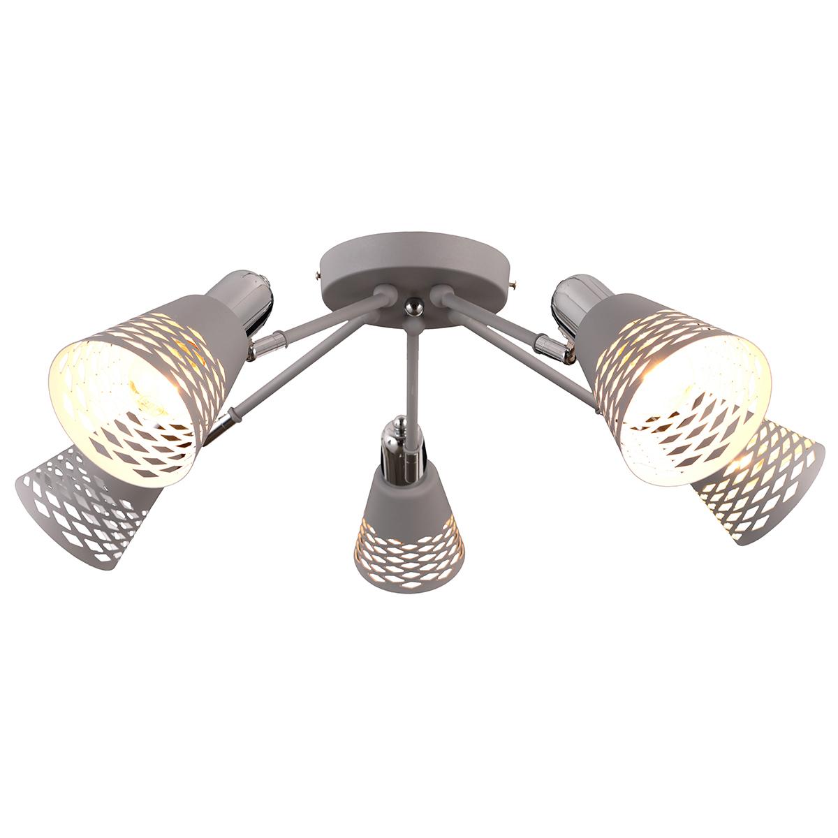Люстра Natali Kovaltseva, 5 х E14, 40W. VISION 75096/5C GRAYVISION 75096/5C GRAYСтиль модерн характеризуется изогнутыми, несимметричными и грациозными линиями. Очень стильно данные светильники смотрятся в интерьере, в основе которых лежат нестандартные решения.Если Вы любитель всего оригинального, нового, неизбитого, то светильники коллекции Natali Kovaltseva направления МОДЕРН – это Ваш выбор! Размеры: D64 x H19 cm