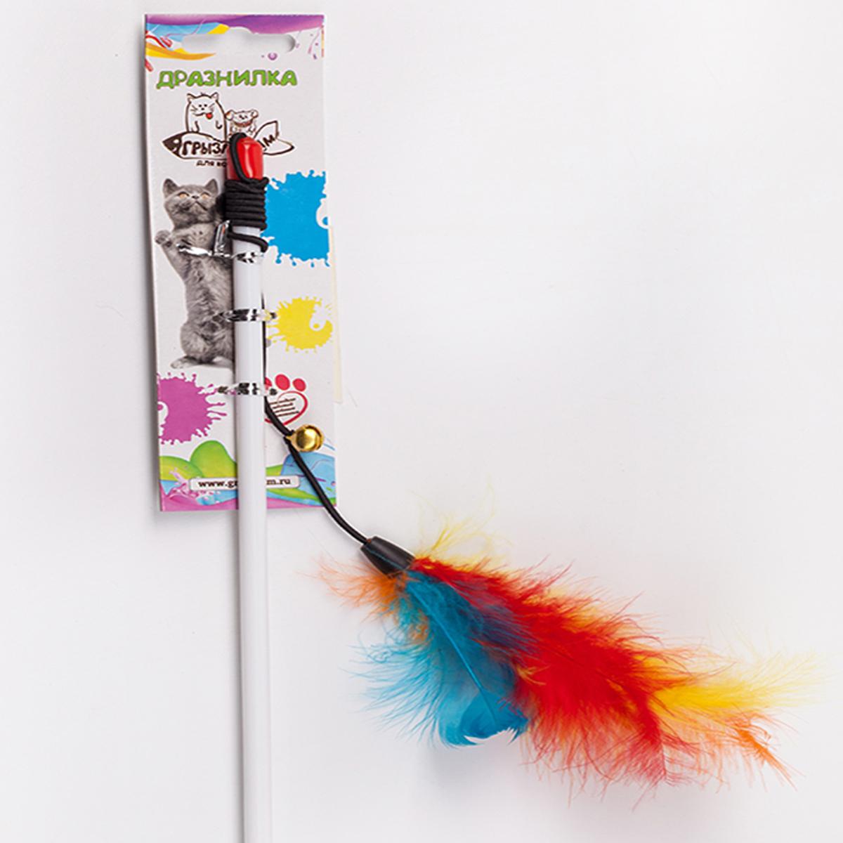 Дразнилка-удочка для кошки Грызлик Ам Марабу с перьями, длина палочки 55 см