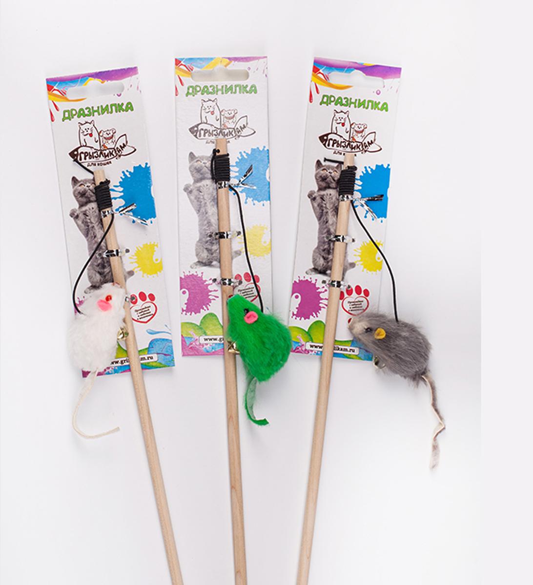 Дразнилка-удочка для кошки Грызлик Ам Мышка с перьями, длина 50 см