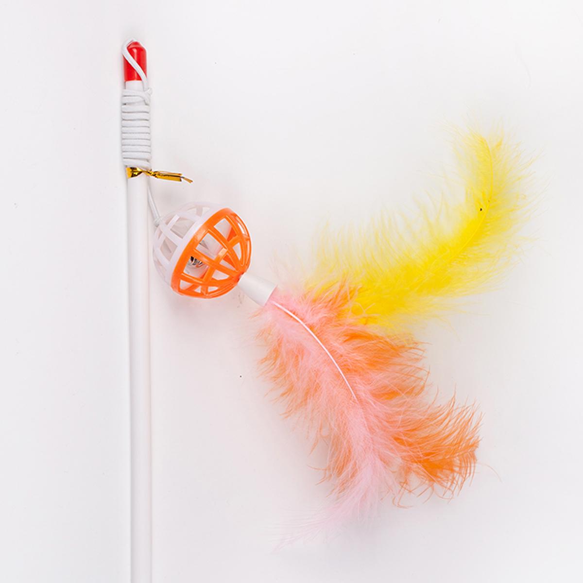 Дразнилка-удочка для кошки Грызлик Ам Погремушка с перьями, длина 55 см спортивный комплекс формула здоровья вершинка w плюс оранжевый