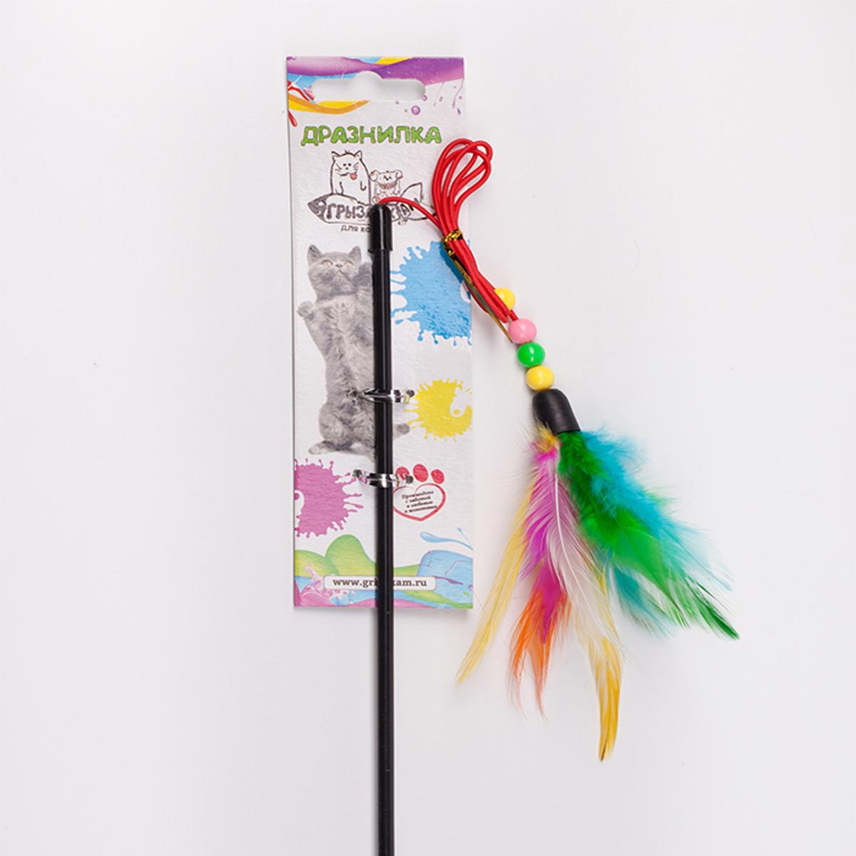 Дразнилка-удочка для кошки Грызлик Ам Марабу с шариками, длина палочки 50 см
