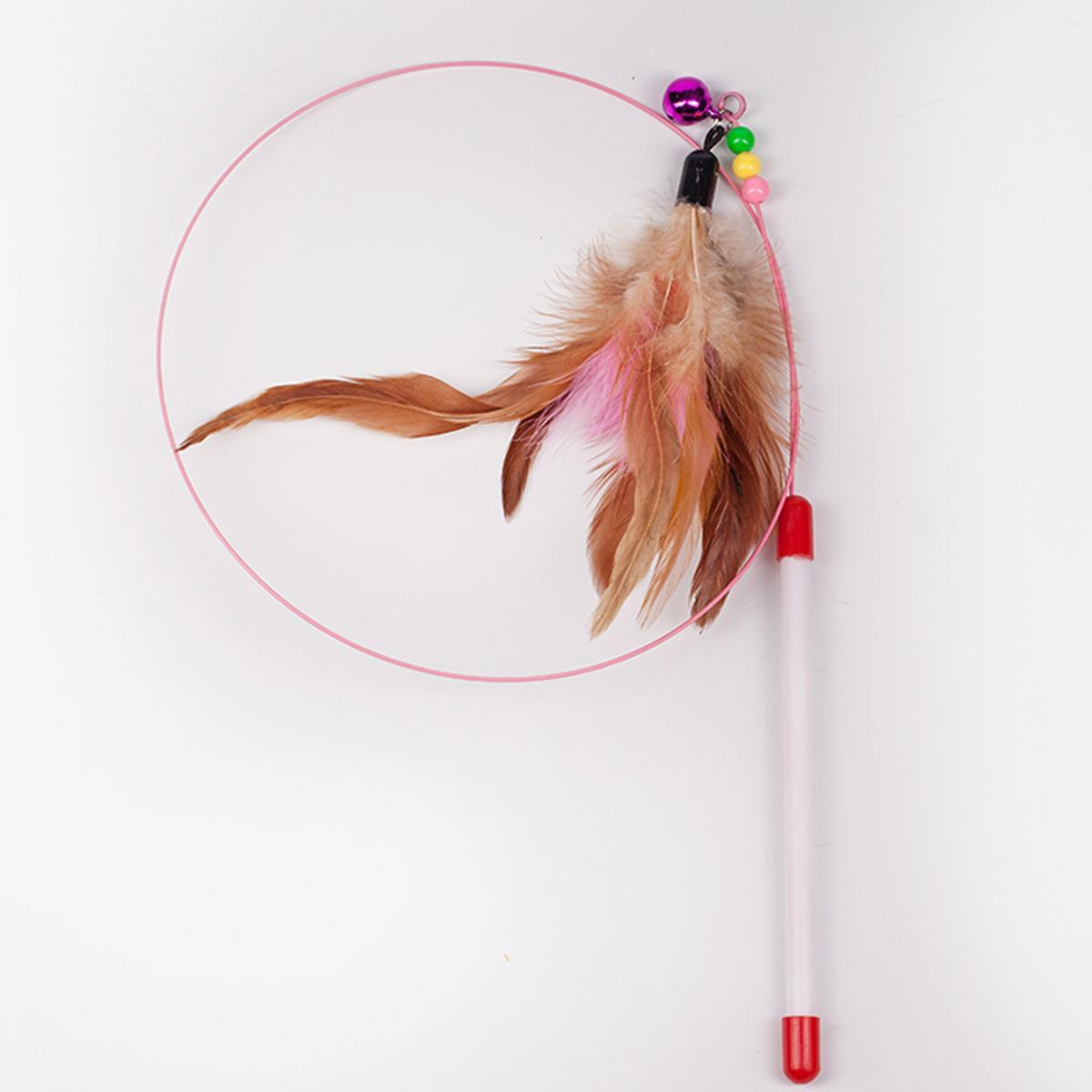 Дразнилка-удочка для кошки Грызлик Ам Лассо с перьями, длина 90 см