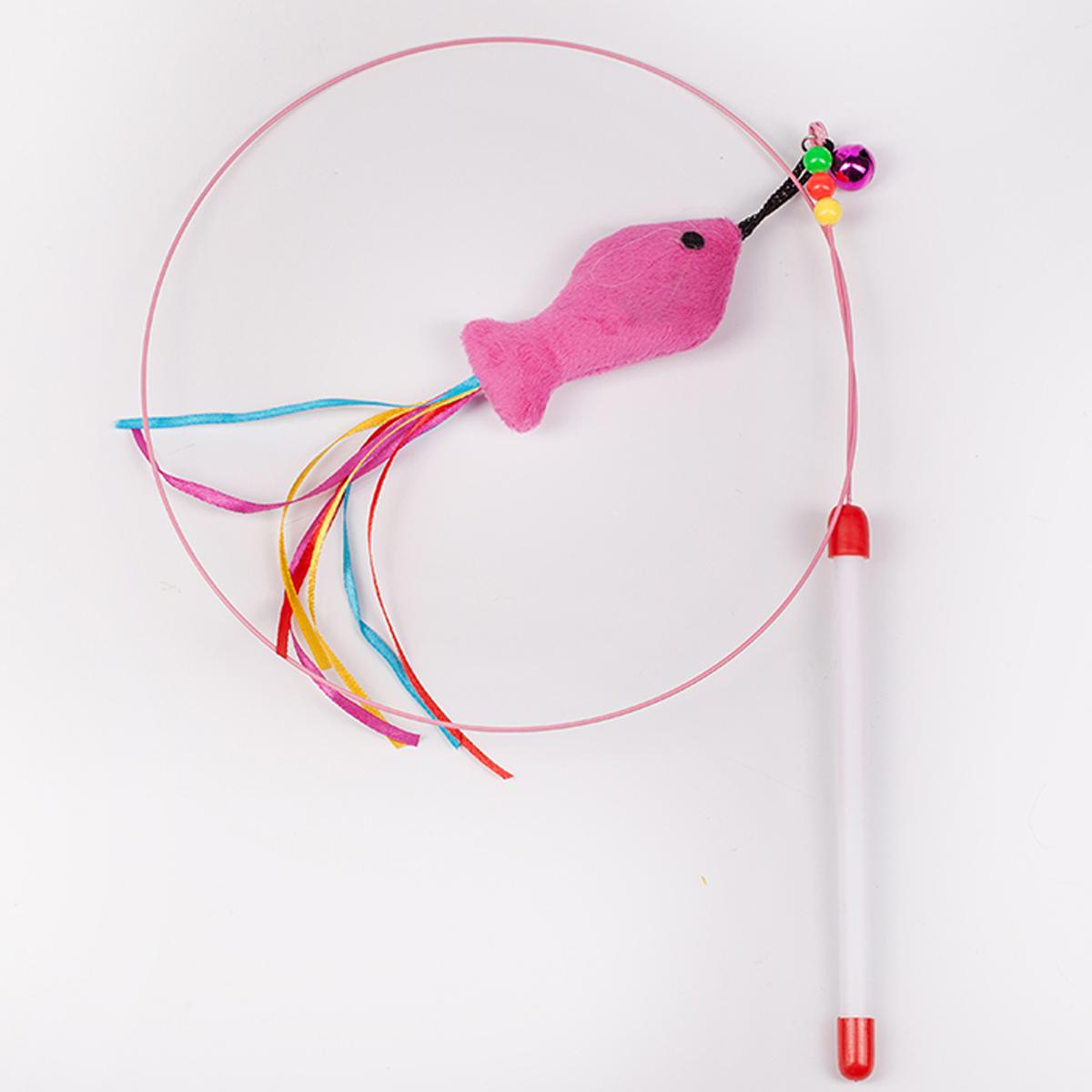 Дразнилка-удочка для кошки Грызлик Ам Лассо с рыбкой, длина 100 см